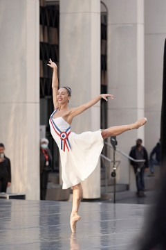 Principal dancer, Rachele Buriassi, dancing on the outdoor stage of the Esplanade of Place des Arts