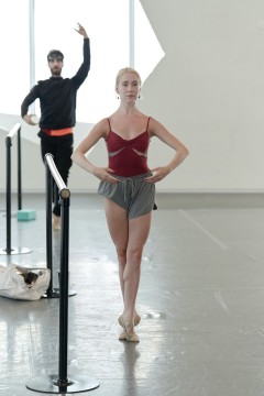 Our dancers Catherine Toupin and Esnel Ramos at the barre during ballet class.