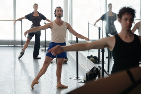 Our dancers Eleonore Thomas, Stephano Russiello and James Lyttle at the barre during ballet class.